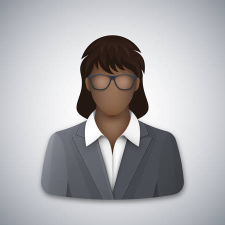 Vector icon of a black business woman in glasses. Successful young afro businesswoman dressed in a gray business suit and white blouse. Vector illustration