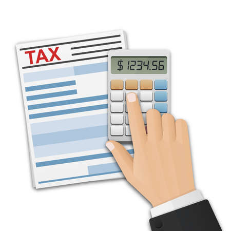 Tax form, and the mans hand, count taxes on the calculator. Tax calculation, payment or return concept. Vector illustration on white background