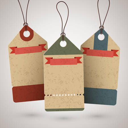 Set of empty vintage cardboard price tags or sale labels in retro style. Vector illustration