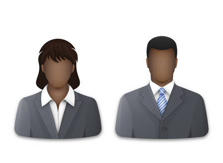 Black businessman and business woman on white background. Successful young man and woman in gray business suits and white shirts. Vector illustration Ilustracja
