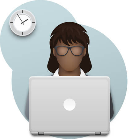 Black business woman or office worker in glasses with laptop. Successful young afro businesswoman dressed in a gray business suit, working on laptop in office against background of wall clock