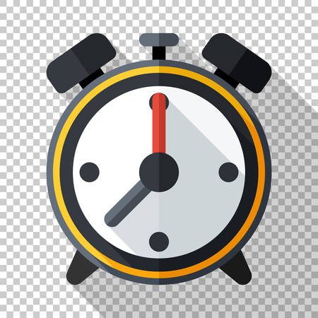 Alarm clock icon in flat style with long shadow on transparent background