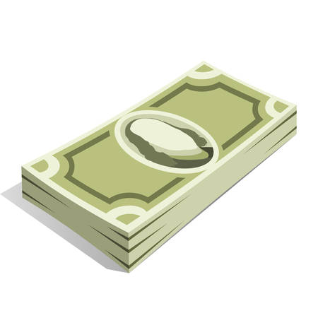 Bundle of money with green banknotes, pile of cash, paper money. The concept of wealth and financial success. Vector illustration on white background