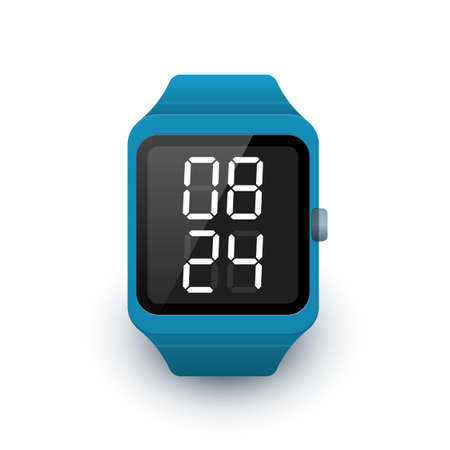 Smart watch icon with digital clock app on screen. Vector illustration of smartwatch on white background Vector Illustration