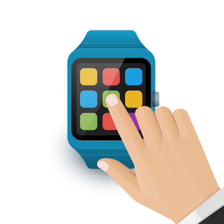 Human hand tap the application icon on smart watch screen. Vector illustration of smartwatch icon on white background