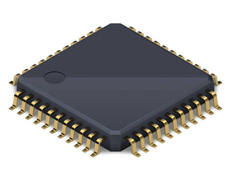 Processor or electronic chip on a white background with soft realistic shadow. Isometric vector illustration Standard-Bild - 120621470