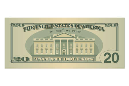 Twenty dollars bill. 20 US dollars banknote, back side. Vector illustration isolated on white background Ilustrace