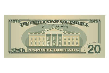 Zwanzig-Dollar-Schein. 20 US-Dollar-Banknote, Rückseite. Vektor-Illustration isoliert auf weißem Hintergrund