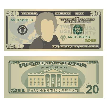 Banconota da venti dollari. Banconota da 20 dollari USA, fronte e retro. Illustrazione vettoriale isolato su sfondo bianco