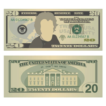 Twenty dollars bill. 20 US dollars banknote, from front and back side. Vector illustration isolated on white background