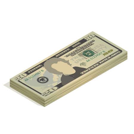 Bundle of twenty dollar bills. Pile of 20 US dollar banknotes, isometric view. Vector illustration isolated on white background