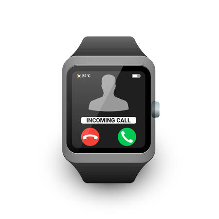 Smart watch with incoming call notification on the screen. Vector illustration of smartwatch icon on white background