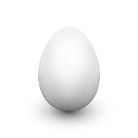 White egg with soft shadow isolated on white background. Single realistic animal egg. Template for Easter holiday. Realistic vector illustration