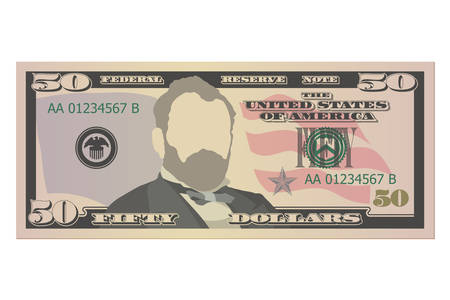 Fifty dollars bill. 50 US dollars banknote, front view. Vector illustration isolated on white background