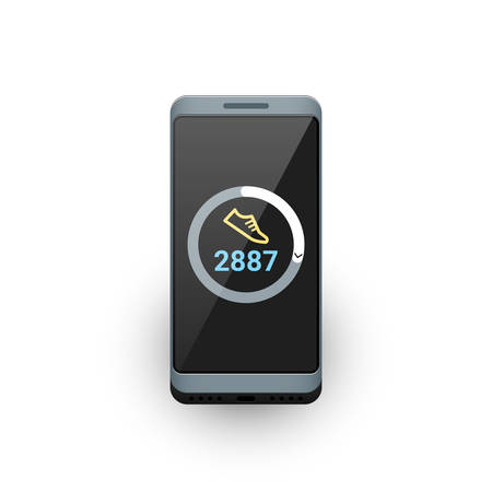 Smartphone with fitness tracker or steps counter app on screen. Vector illustration on white background
