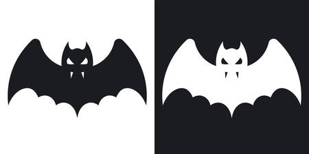 Bat silhouette, halloween illustration. Two-tone vector icon on black and white background