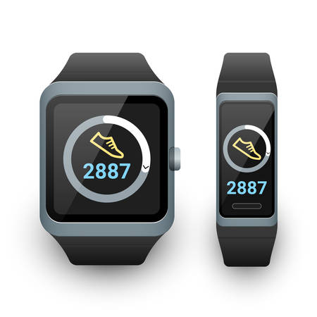 Smart watch and activity fitness tracker with steps counter app on screen. Vector illustration on white background
