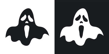 Ghost silhouette, halloween illustration. Two-tone vector icon on black and white background