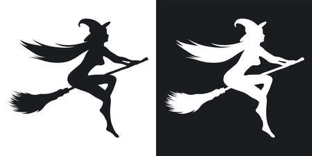 Silhouette of a sexy witch who flies on a broomstick, halloween illustration. Two-tone vector icon on black and white background