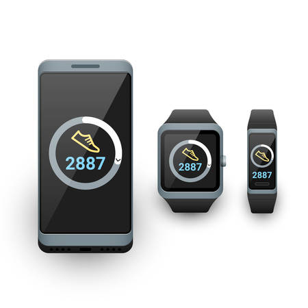 Smartphone, smart watch and activity fitness tracker with steps counter app on screen. Vector illustration on white background