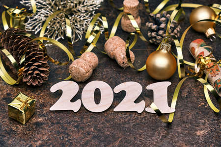 New Year 2021 festive  with wooden numbers 2021 Stockfoto