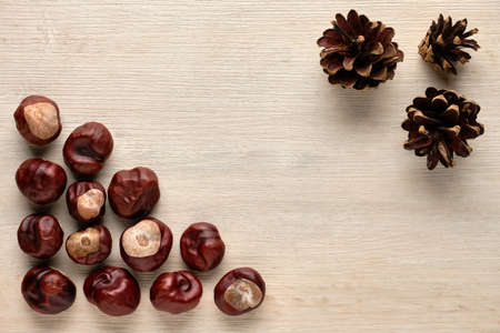Chestnuts and pine cones on a wooden background. Flat lay, top view