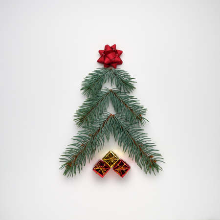Stylized Christmas tree made of fir branches with gift boxes on a white background. View from above, flat lay