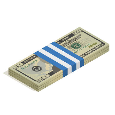 Bank packaging of twenty-dollar bills, bundle of US banknotes, pile of cash, paper money. The concept of financial success and wealth. Isometric vector illustration isolated on a white background
