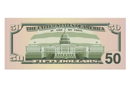 Billet de cinquante dollars. Billet de 50 dollars US, verso. Illustration vectorielle isolée sur fond blanc