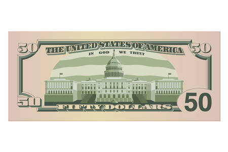 Fifty dollar bill. 50 US dollars banknote, back side. Vector illustration isolated on a white background