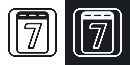 Calendar app icon for smartphone, tablet, laptop or other smart device with mobile interface. Minimalistic two-tone version on a black and white background