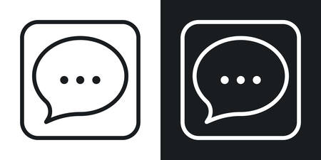 Messages, chat or messenger app icon for smartphone, tablet, laptop or other smart device with mobile interface. Minimalistic two-tone version on a black and white background