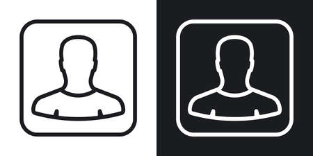 Contacts or address book app icon for smartphone, tablet, laptop or other smart device with mobile interface. Minimalistic two-tone version on a black and white background Stock Illustratie