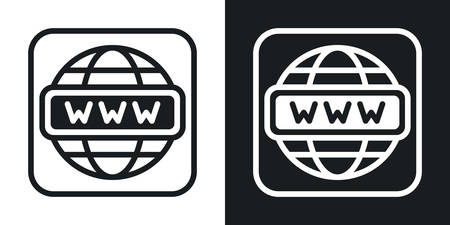 Internet or web browser app icon for smartphone, tablet, laptop or other smart device with mobile interface. Minimalistic two-tone version on a black and white background
