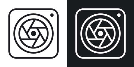 Camera app icon for smartphone, tablet, laptop or other smart device with mobile interface. Minimalistic two-tone version on a black and white background Stock Illustratie