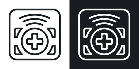 Remote control app icon for smartphone, tablet, laptop or other smart device with mobile interface. Minimalistic two-tone version on a black and white background