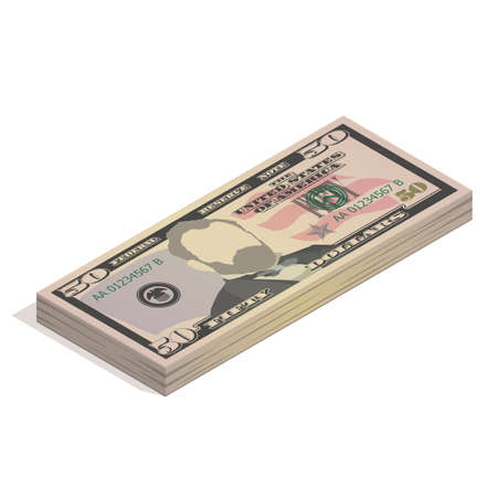 Stack of fifty dollar bills. Paper money, pile of 50 US dollar banknotes, isometric view. Vector illustration isolated on a white background