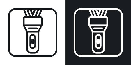 LED flashlight app icon for smartphone, tablet, laptop or other smart device with mobile interface. Minimalistic two-tone version on a black and white background