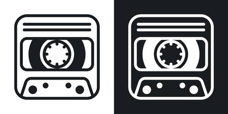 Dictaphone or voice recorder app icon for smartphone, tablet, laptop or other smart device with mobile interface. Minimalistic two-tone version on a black and white background