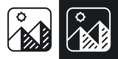 Image gallery or photo album app icon for smartphone, tablet, laptop or other smart device with mobile interface. Minimalistic two-tone version on a black and white background Stock Illustratie
