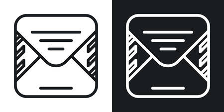 Email or e-mail app icon for smartphone, tablet, laptop or other smart device with mobile interface. Minimalistic two-tone version on a black and white background Stock Illustratie