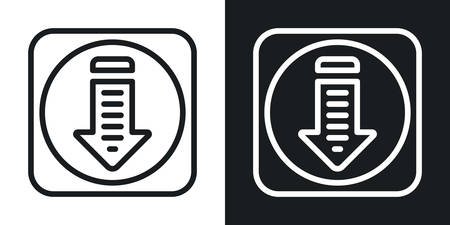 Downloads or download folder app icon for smartphone, tablet, laptop or other smart device with mobile interface. Minimalistic two-tone version on a black and white background