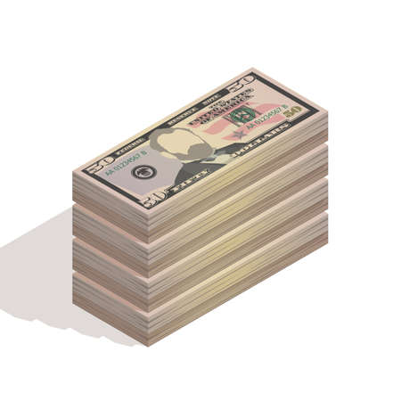 Big stack of fifty dollar bills. Paper money, pile of 50 US dollar banknotes, isometric view. Vector illustration isolated on a white background