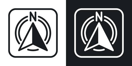 Compass app icon for smartphone, tablet, laptop or other smart device with mobile interface. Minimalistic two-tone version on a black and white background