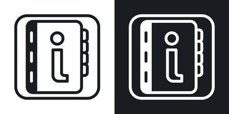 Help or user guide app icon for smartphone, tablet, laptop or other smart device with mobile interface. Minimalistic two-tone version on a black and white background Stock Illustratie