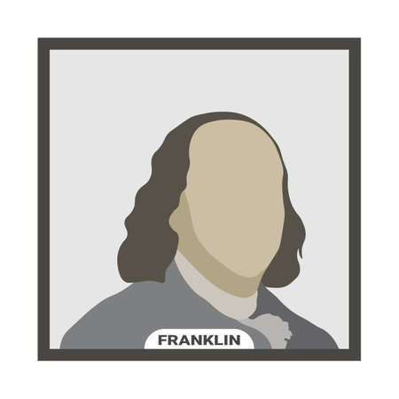Benjamin Franklin, United States politician. Stylized vector portrait on a white background