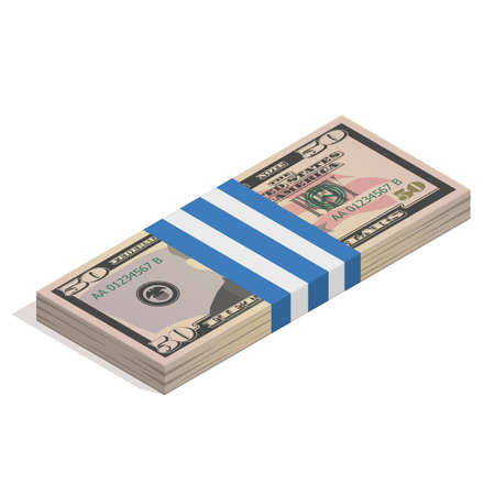 Bank packaging of fifty dollar bills, bundle of US banknotes, pile of cash, paper money. The concept of financial success and wealth. Isometric vector illustration isolated on a white background