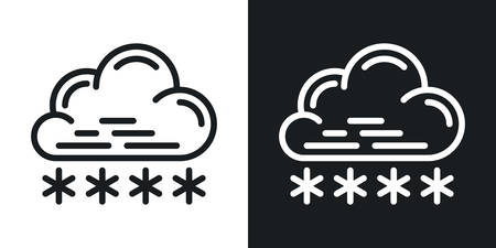 Snow or snowfall icon for weather forecast application or widget. Cloud with snowflakes. Two-tone version on a black and white background