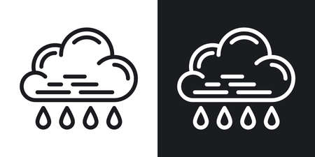 Rain icon for weather forecast application or widget. Cloud with raindrops. Two-tone version on a black and white background