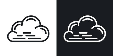 Cloudy, cloudiness or overcast icon for weather forecast application or widget. Cloud closeup. Two-tone version on a black and white background